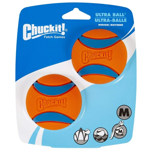 Chuckit Ultra Ball, Durable High Bounce Rubber Dog Ball, Launcher Compatible, 2 Pack, Medium
