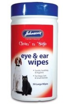Johnsons Veterinary Products 19-0205 Ear and Eye Wipes Dogs Cats Small Animals