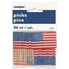 USA American Flag Cupcake Toppers American Themed Party Pack of 30 Flags Picks