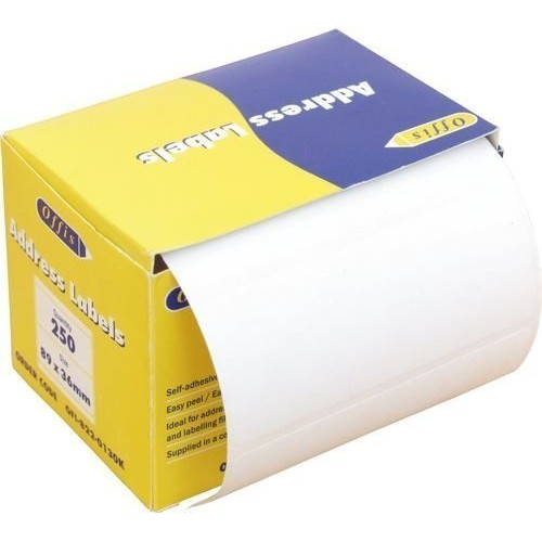 250 Premium Quality Self Adhesive Address Labels On Roll 89mm x 36mm