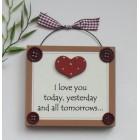Love You Gift Wooden Keepsake Plaque