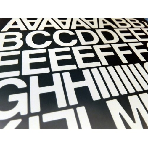 "Pack of 90 x 1"" (25mm) White Vinyl Sticky Letters & Numbers , Self-Adhesive , Stick on , Cut-to-shape , waterproof lettering for signs, vehicles, boats, posters & school projects"