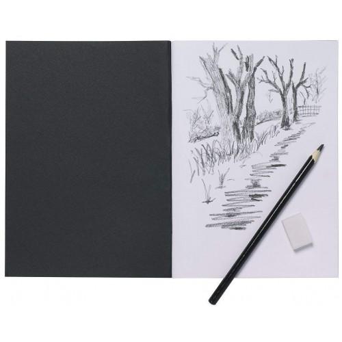 A5 Artist Sketch Book White Cartridge Paper Black Card Cover Art Pad