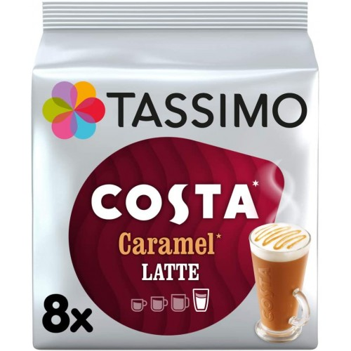 Tassimo Coffee Pods 5 Pack Costa Caramel Latte Coffee Shop Taste