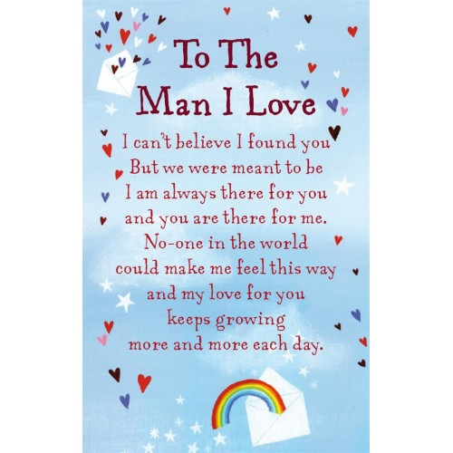 "To The Man I Love Keepsake Card & Envelope 3.5"" x 2"""