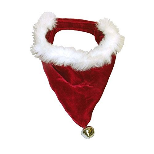 Pet Cute Soft Designer Santa Dog Bandana for Christmas with Bell