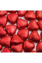 Red Foil Wrapped Milk Chocolate Hearts Wedding Party Table Favours - 100 Pack