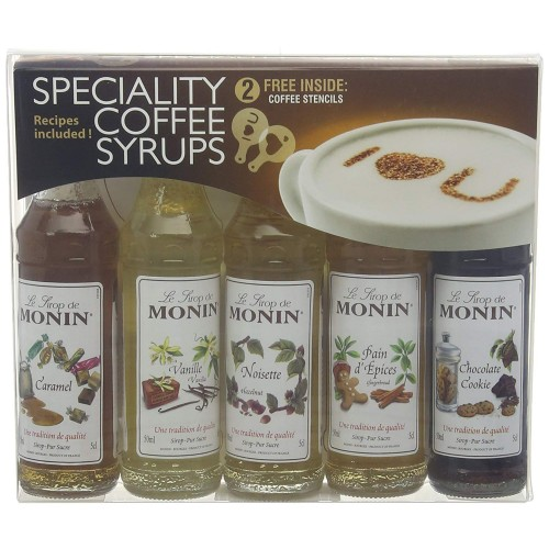Monin Syrup Coffee Gift Set 5x5cl Pack of 5 Miniature Coffee Flavouring Syrups