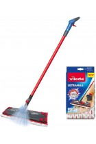 Vileda 1-2 Spray Microfibre Flat Spray Mop with Extra Microfibre Refill Pad, Removes Over 99% of Bacteria with Just Water