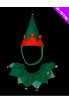 Red And Green Elf Pet Set - Hat And Collar - Suitable For Cats & Dogs - Christmas Fancy Dress.