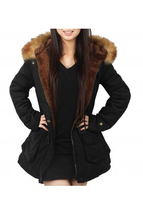 Womens Hooded Coat Parka Style with Faux Fur
