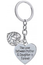 Mothers Day Gift Love Between Mother Daughter is Forever Double Heart Key Chain Ring for Family Women (Double pendnat)