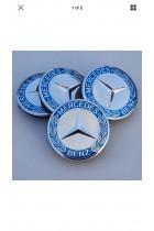 Mercedes Benz Alloy Wheel Centre Caps 75 mm CHROME SILVER & BLUE SET OF FOUR 4