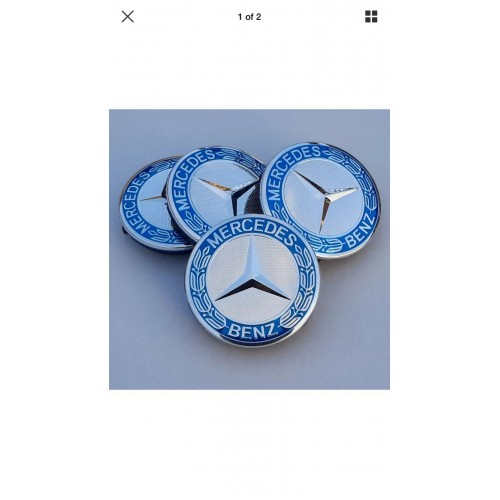 Mercedes Benz Alloy Wheel Centre Caps 75 mm CHROME SILVER & BLUE SET OF FOUR 4