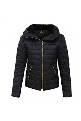 Quilted Padded Puffer Jacket in Black