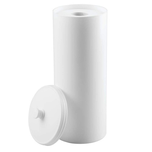 Free Standing Toilet Roll Holder - No Drilling Required - White
