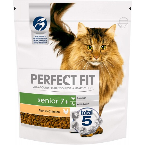 Perfect Fit 7+ Dry Cat Food Advanced Nutrition For Senior Cats With Chicken, 750 g (Pack of 3)