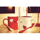 Kissing Mugs Set, Exquisitely Crafted Large Red & White Cups & Matching Spoons for Couples, Him and Her for Valentines Day, Wedding, Anniversary, Birthday, Christmas, Mr & Mrs Home Decor by Blu Devil