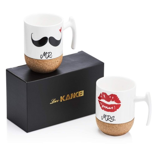 Mr and Mrs Ceramic Mugs with Novelty Cork Bottom