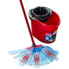 Vileda SuperMocio 3Action XL Mop and Bucket Set, Red/Blue