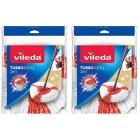 Vileda Turbo 2-in-1 Microfibre Mop Refill Head, Microfibre, Red, Pack of 2