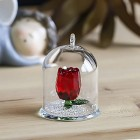 Crystal Rose Flower Figurine Dreams Ornament in a Glass Dome