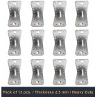 70 x 70 x 55 x 2.5 mm Angle Brackets with Beading, Galvanised, Pack of 12
