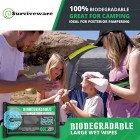 Surviveware Biodegradable Wet Wipes Large Pack of 32 - Rinse Free Shower Wipes for Post Workouts, Camping, Backpacking, Outdoors and Hiking