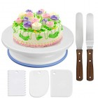 Cake Plate Rotating Cake Stand Decorating Turntable Icing Smoother and Spatula