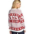 Unisex Christmas Jumper Reindeer Snowflakes Knitted Xmas Long Sweater Top