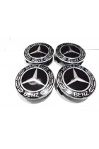 Mercedes Black Alloy Wheel Centre Caps 75 mm A B C E S G CLASS CLA CLS SLK ML AMG