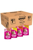 Whiskas 1+ Wet Cat Food Pouches with Chicken, Poultry, Turkey and Duck, Selection in Jelly, 100 g (Pack of 120)
