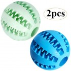 Feixun Pets Dog Treat Toy Ball, Rubber Dog Food Ball,Dog Tooth Cleaning Toy Ball, Interactive Dog Toys (1*Blue + 1*Green) 7.6cm