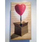 Heart Balloon in Box Art painting Stencil Spray painted Handmade picture on Wood 8 x 14cm