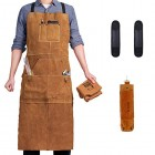 "Leather Welding Apron with 6 Pockets - Heavy Duty Work Aprons - 24"" X 36"" Heat & Flame-Resistant Tools Apron, Brown"