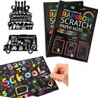 "MengTing Scratch Art Activity Books for Kids! 20 BIG 10"" x 7.25"" Sheet Rainbow Scratch Paper Set with Stylus Scratchers & Stencils - DIY Painting Doodle Book Set Makes Art Fun!Best for Kids"