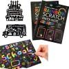 "MengTing Scratch Art Activity Books for Kids! 20 BIG 10"" x 7.25"" Sheet Rainbow Scratch Paper Set with Stylus Scratchers & Stencils - DIY Painting Doodle Book Set Makes Art Fun!Best for Kids"