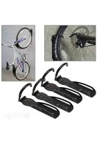 Set of 4 Heavy Duty Vertical Wall Mounted Bicycle Storage Hanging Hooks - Suitable For Indoor Or Outdoor Use