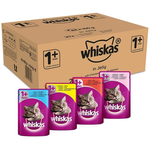 Whiskas Wet food Pouches, Delicious and Tasty Poultry Selection in Jelly, Suitable for Cats Aged 1+, 84 x 100 g