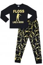 Floss Like a Boss All Over Gaming Black Gold Cotton Long Pyjamas