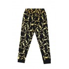 Floss Like a Boss All Over Gaming Black Gold Cotton Long Pyjamas
