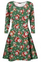 Womens Ladies Christmas Xmas Santa Gingerbread Reindeer Mini Smock Swing Dress