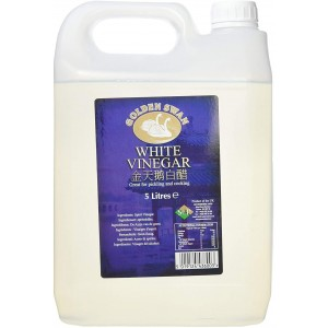 Golden Swan White Vinegar for Cleaning, Pickling, Marinating & Cooking - Distilled White Vinegar- 5 Litre Bottle - Produced in The UK (1 Pack)