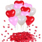 Valentines Day Decorations Hearts Latex Balloons Red Silk Rose Petals Confetti