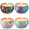 Scented Candles Gift Set of 4 Jasmine,Lotus,Lilac Blossoms & White Gardenia,Natural Soy Wax Portable Travel Tin Candle