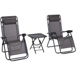 3 Piece Zero Gravity Reclining Garden Patio Deck Chair Sun Lounger & Table Set