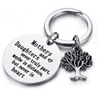 """Family Tree Keychain Mother Daughter Gift """"Mothers and Daughters Never Truly Part, Maybe in Distance.Mother Daughter Keychain,Christmas Gifts,Mothers Day"""