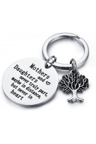 "Family Tree Keychain Mother Daughter Gift ""Mothers and Daughters Never Truly Part, Maybe in Distance.Mother Daughter Keychain,Christmas Gifts,Mothers Day"