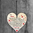 I Love You Mum - Handmade Wooden Perfect Hanging Heart Plaque-Sign Gift for Your Best Friendship