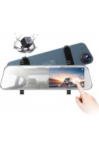 TOGUARD Mirror Dash Cam 5 Inch LCD Backup Camera Rear View Mirror Camera Ultra-Thin Touch Screen Full HD 1080P Dash Cam Front and Rear Dual Lens with Waterproof Rear Camera